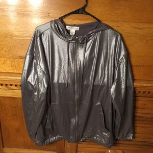 H & M Coachella Metallic Silver Hooded Jacket